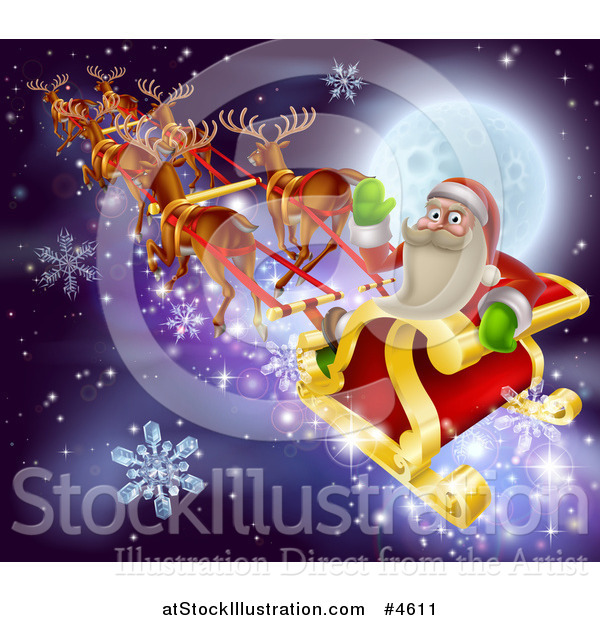 Vector Illustration of Santa Claus Waving and Riding His Sleigh over a Full Moon