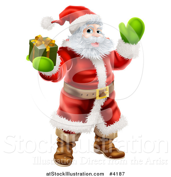 Vector Illustration of Santa Holding out a Gift Box and Waving