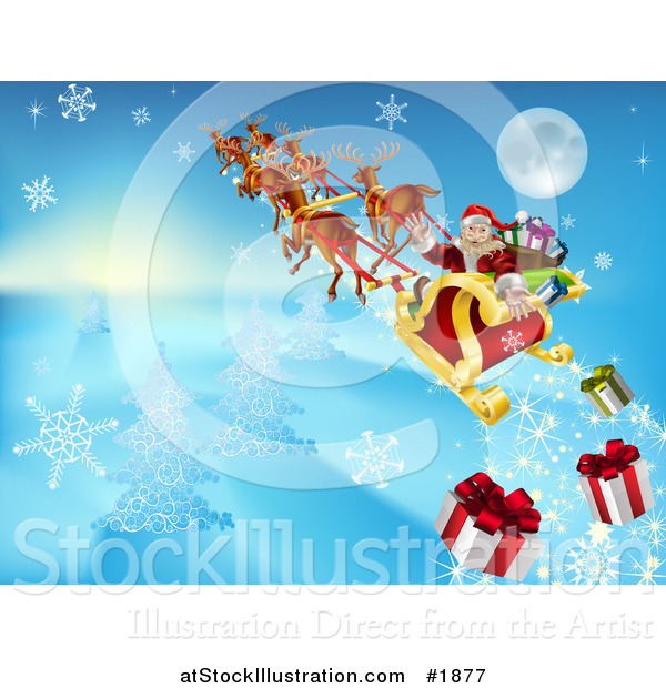Vector Illustration of Santa Looking Back and Dropping Christmas Gifts As He Flies in His Sleigh