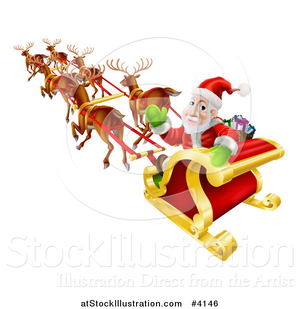 Vector Illustration of Santa Looking Back and Waving While Flying in His Magic Reindeer Sleigh