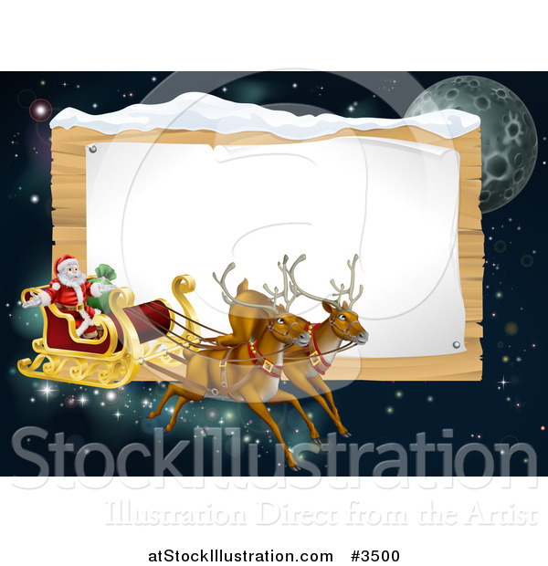 Vector Illustration of Santas Christmas Reindeer Sleigh in the Sky over a Wooden Sign