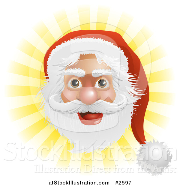 Vector Illustration of Santas Face over Yellow Rays