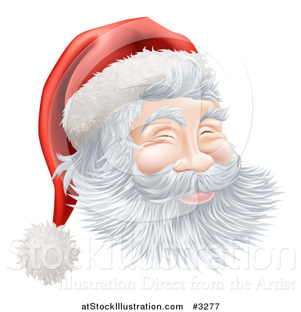 Vector Illustration of Santas Face with a Jolly Expression