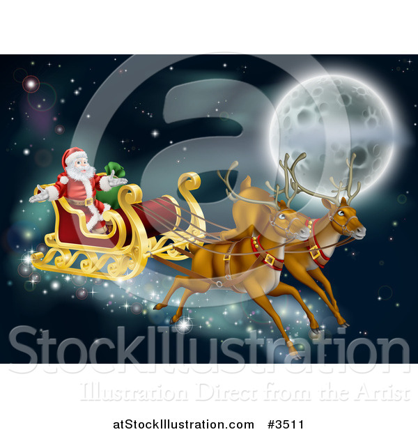 Vector Illustration of Santas Magic Reindeer and Sleigh Flying near the Moon on Christmas Eve