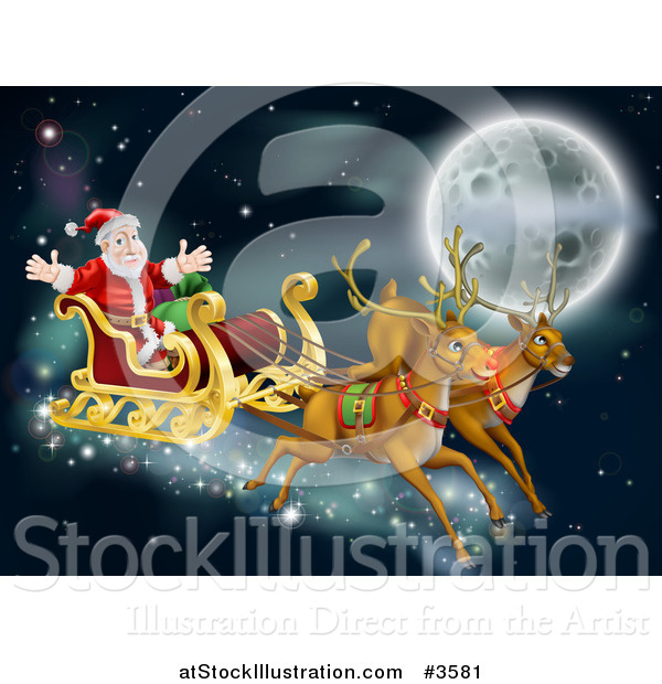 Vector Illustration of Santas Reindeer and Sleigh Flying near the Moon on Christmas Eve