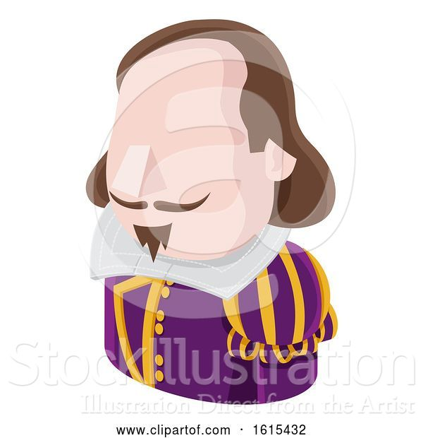 Vector Illustration of Shakespeare Guy Avatar People Icon