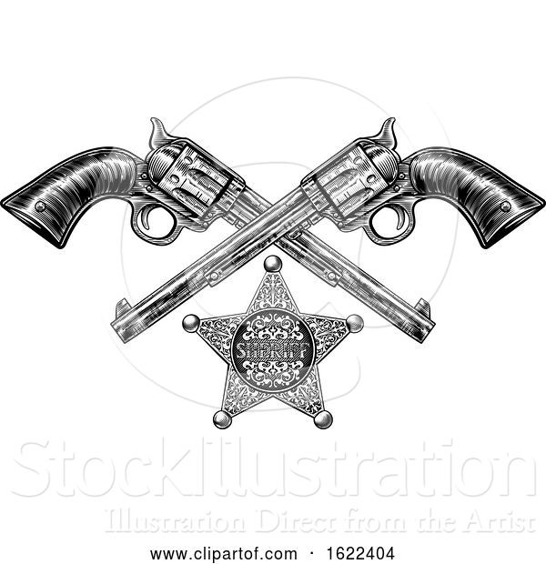 Vector Illustration of Sheriff Star Badge and Pistols