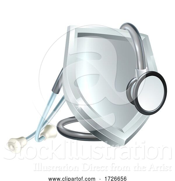 Vector Illustration of Shield Stethoscope Medical Health Icon Concept