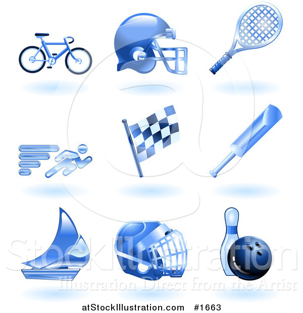 Vector Illustration of Shiny Blue Athletics Icons