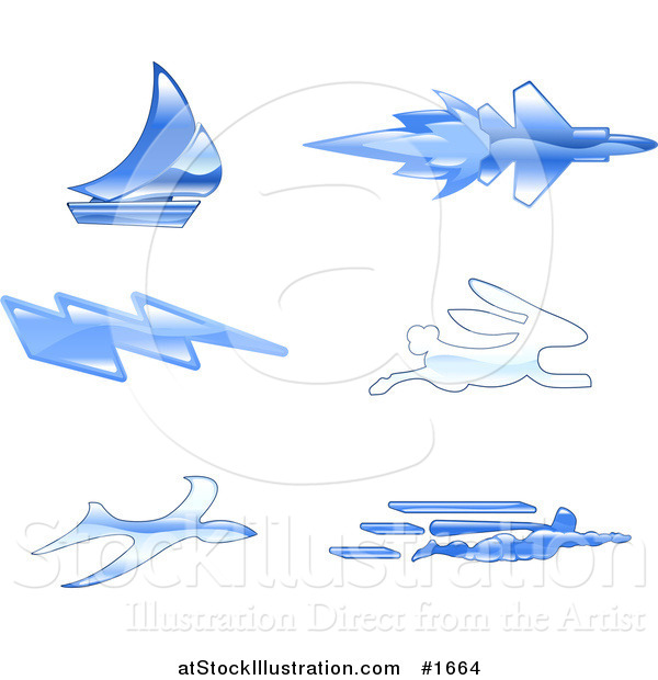 Vector Illustration of Shiny Blue Fast Icons