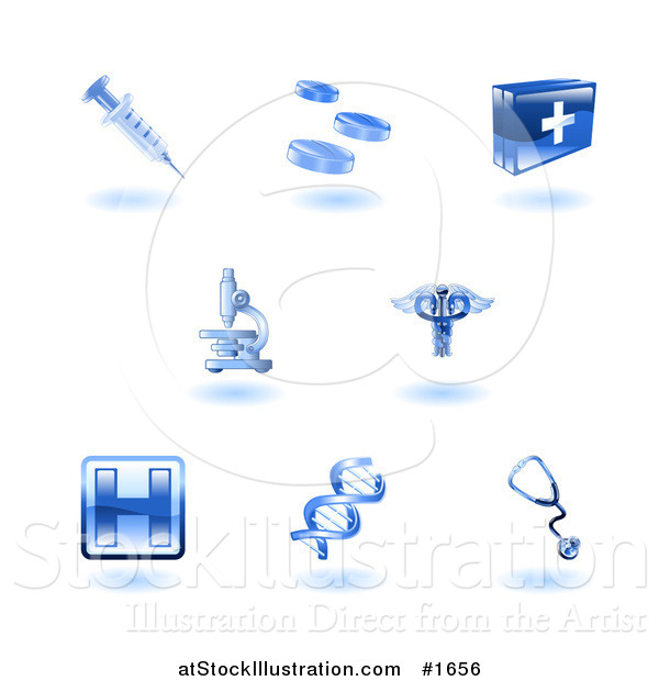 Vector Illustration of Shiny Blue Health Care Icons
