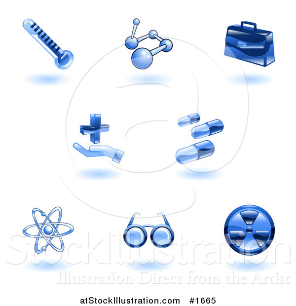 Vector Illustration of Shiny Blue Medical Icons