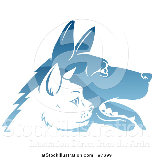 Vector Illustration of Shiny Blue Profiled Dog and Cat Faces