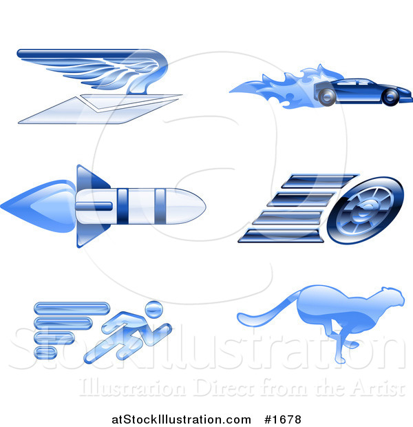 Vector Illustration of Shiny Blue Speed Icons