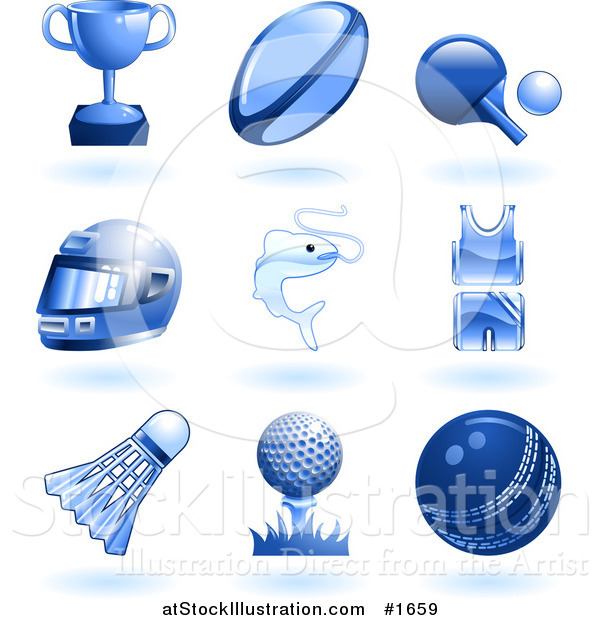 Vector Illustration of Shiny Blue Sports and Recreation Icons