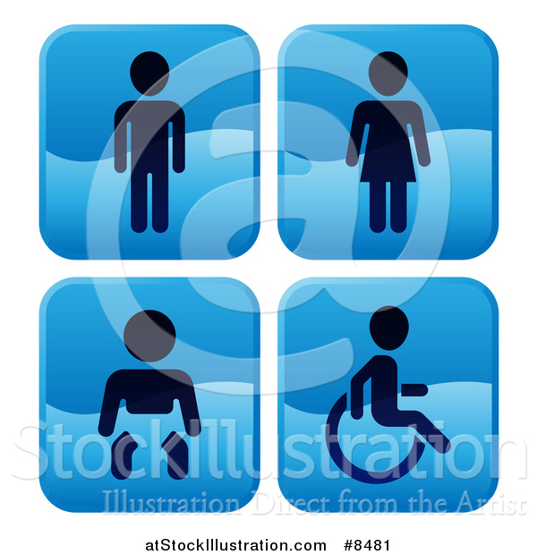 Vector Illustration of Shiny Blue Square Male, Female, Baby and Handicap Bathroom Icons