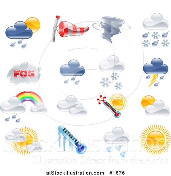 Vector Illustration of Shiny Colorful Season and Weather Icons