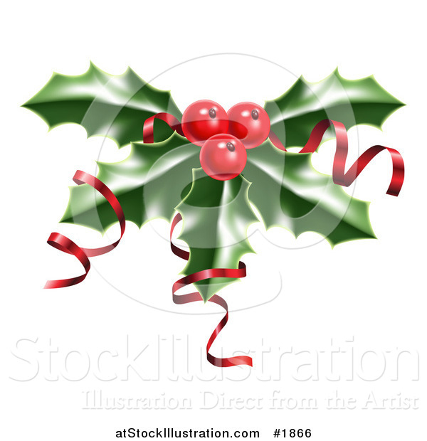 Vector Illustration of Shiny Red Ribbons on Christmas Holly and Berries