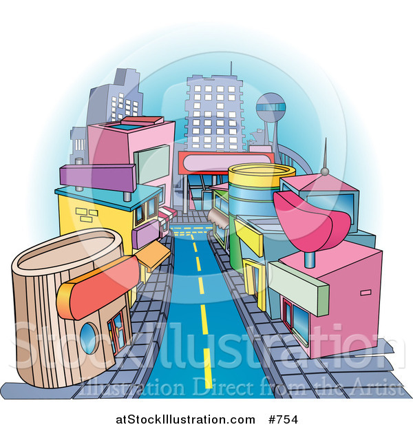 Vector Illustration of Shops Downtown in a City