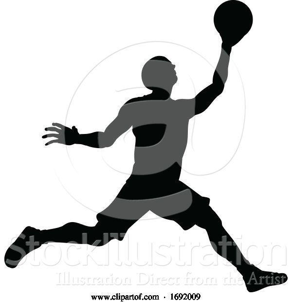 Vector Illustration of Silhouette Basketball Player