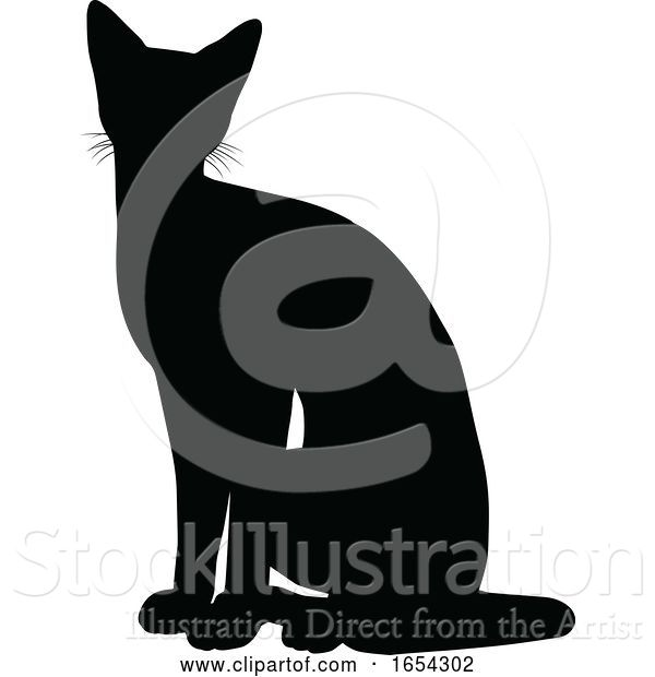 Vector Illustration of Silhouette Cat Pet Animal