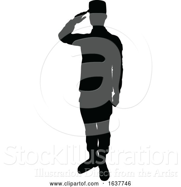 Vector Illustration of Silhouette Soldier