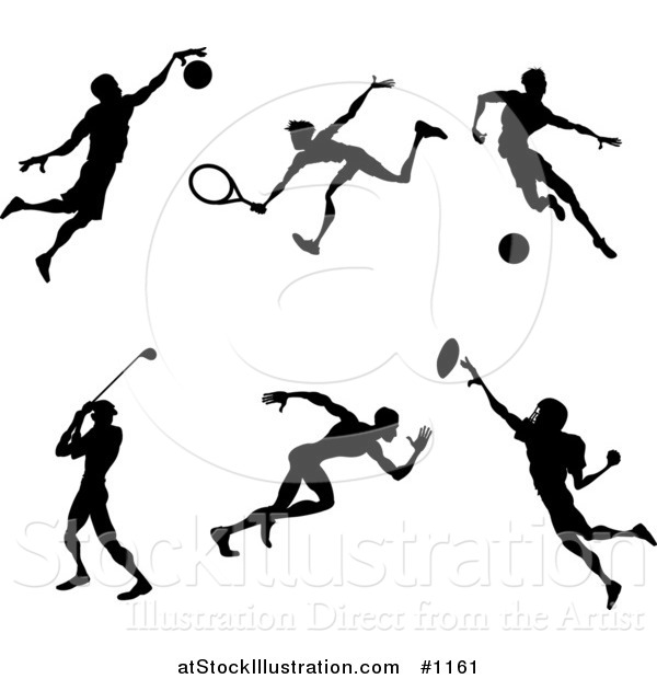 Vector Illustration of Silhouetted Athletes Playing Basketball, Tennis, Soccer, Golf, Running and American Football