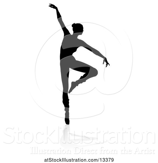 Vector Illustration of Silhouetted Ballerina Dancing with a Reflection or Shadow, on a White Background