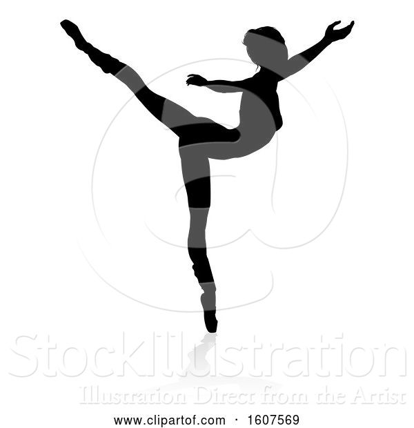 Vector Illustration of Silhouetted Ballerina Dancing, with a Reflection or Shadow, on a White Background