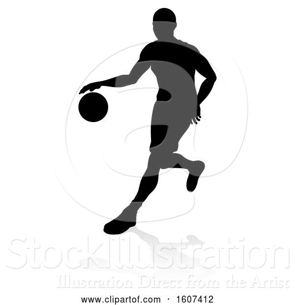 Vector Illustration of Silhouetted Basketball Player Dribbling, with a Reflection or Shadow, on a White Background