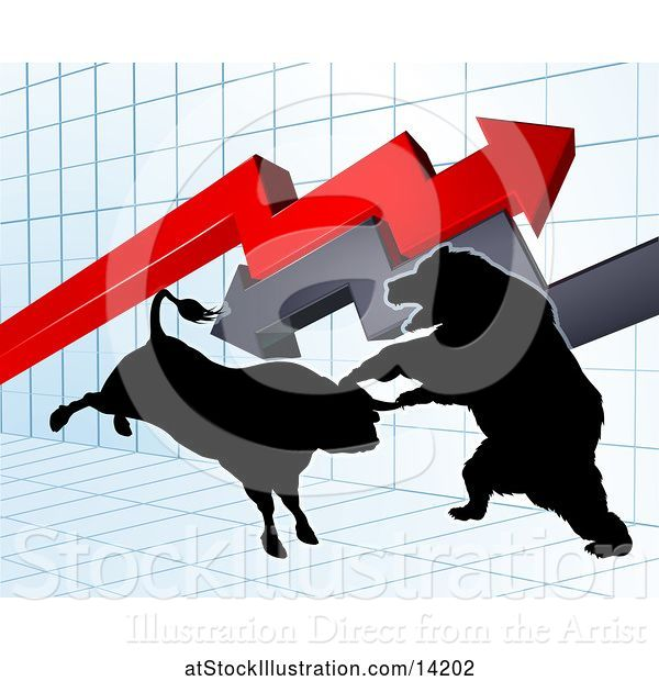 Vector Illustration of Silhouetted Bear Vs Bull Stock Market Design with Arrows over a Graph