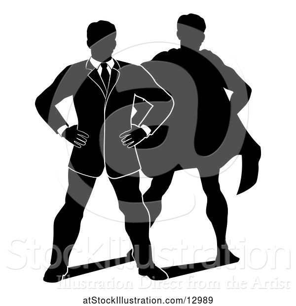 Vector Illustration of Silhouetted Business Man Standing with Folded Arms and a Super Hero Shadow