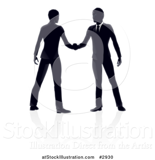 Vector Illustration of Silhouetted Business Men Engaged in a Hand Shake with Reflections