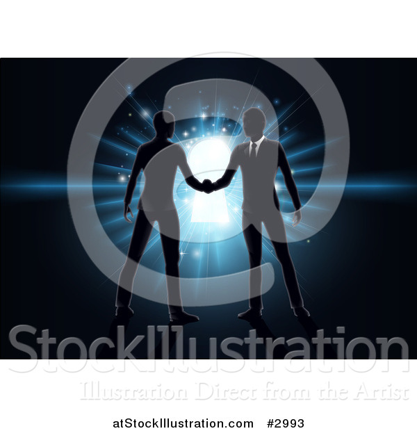 Vector Illustration of Silhouetted Business Men Shaking Hands over a Glowing Blue Key Hole on Black