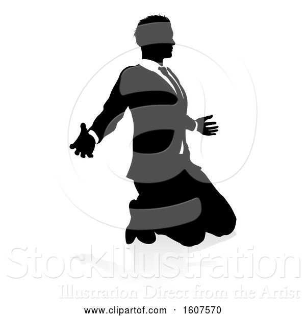 Vector Illustration of Silhouetted Businessman Kneeling and Worshiping, with a Shadow on a White Background