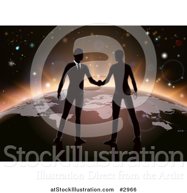 Vector Illustration of Silhouetted Businessmen Shaking Hands on Earth