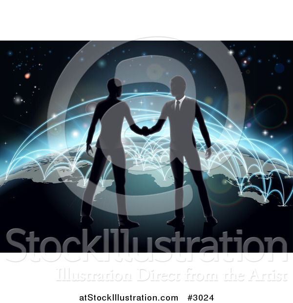 Vector Illustration of Silhouetted Businessmen Shaking Hands on Earth with Blue Glowing Routes