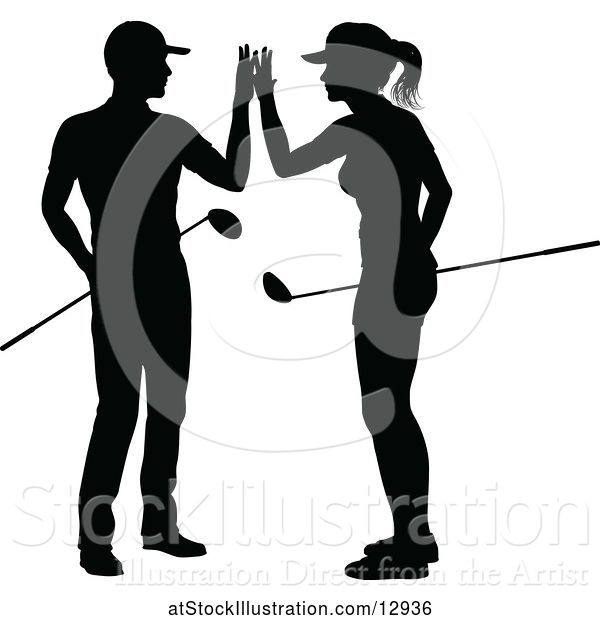 Vector Illustration of Silhouetted Couple Golfing