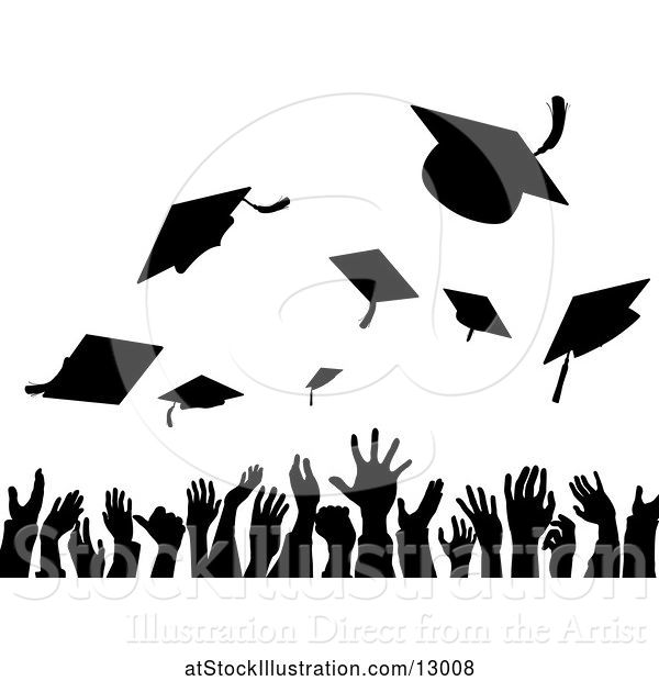 Vector Illustration of Silhouetted Crowd of Graduate Hands Throwing Their Graduation Caps