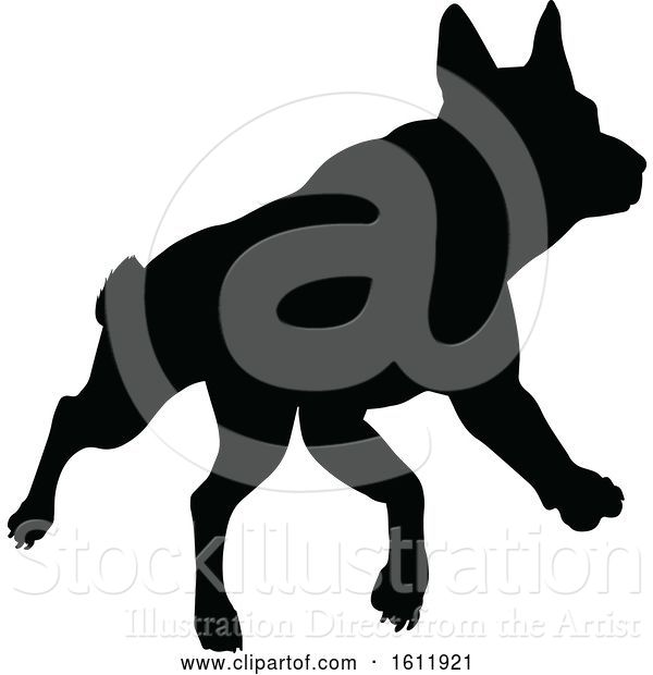 Vector Illustration of Silhouetted Dog