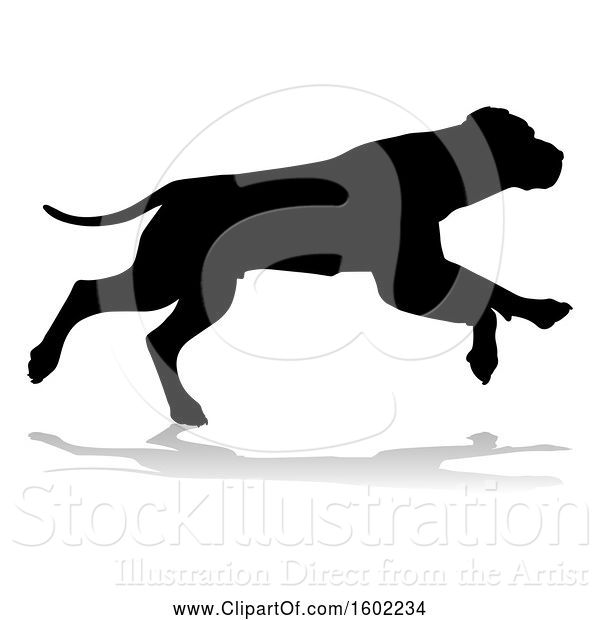 Vector Illustration of Silhouetted Dog, with a Reflection or Shadow, on a White Background