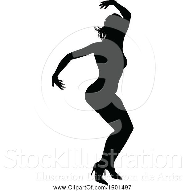 Vector Illustration of Silhouetted Female Dancer in Heels