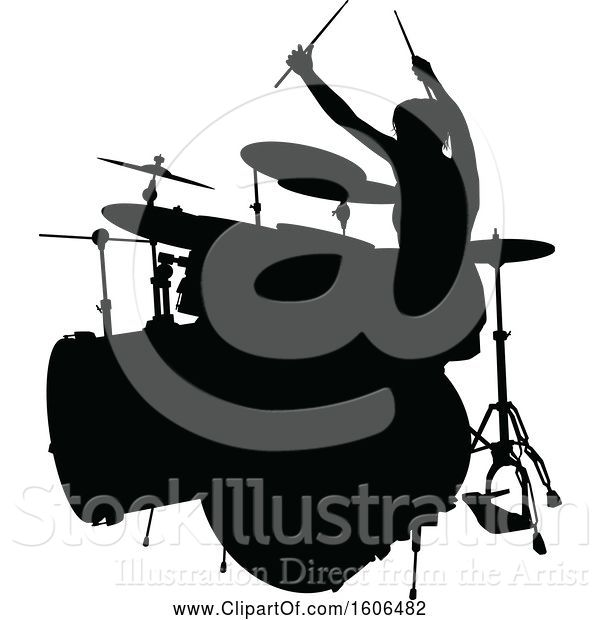 Vector Illustration of Silhouetted Female Drummer