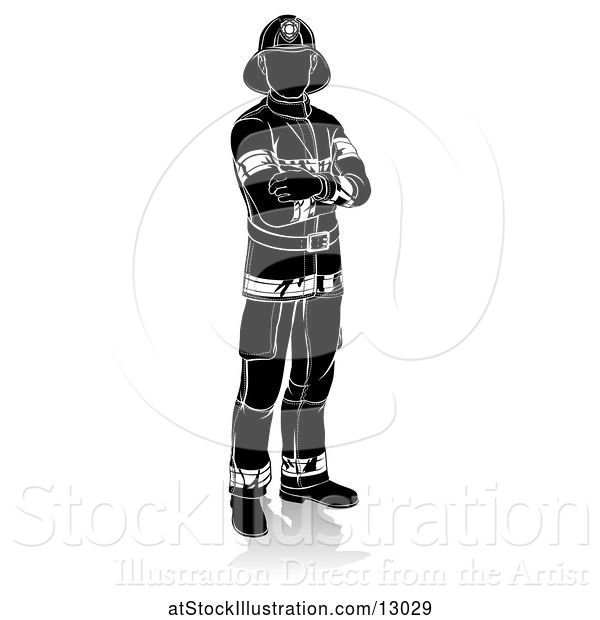 Vector Illustration of Silhouetted Firefighter, with a Reflection or Shadow, on a White Background
