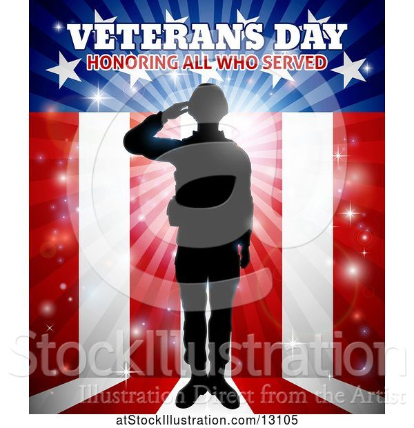 Vector Illustration of Silhouetted Full Length Male Military Veteran Saluting over an American Background and Text