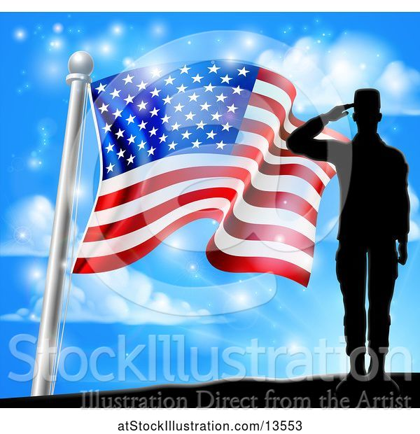 Vector Illustration of Silhouetted Full Length Male Military Veteran Saluting over an American Flag and Sky