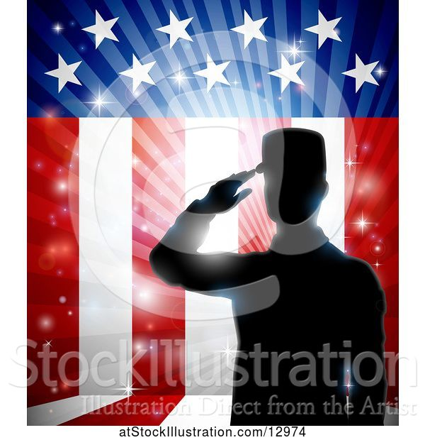 Vector Illustration of Silhouetted Full Length Male Military Veteran Saluting over an American Themed Flag and Bursts