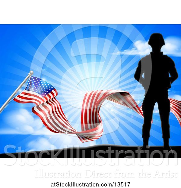 Vector Illustration of Silhouetted Full Length Military Soldier over an American Flag and Sky