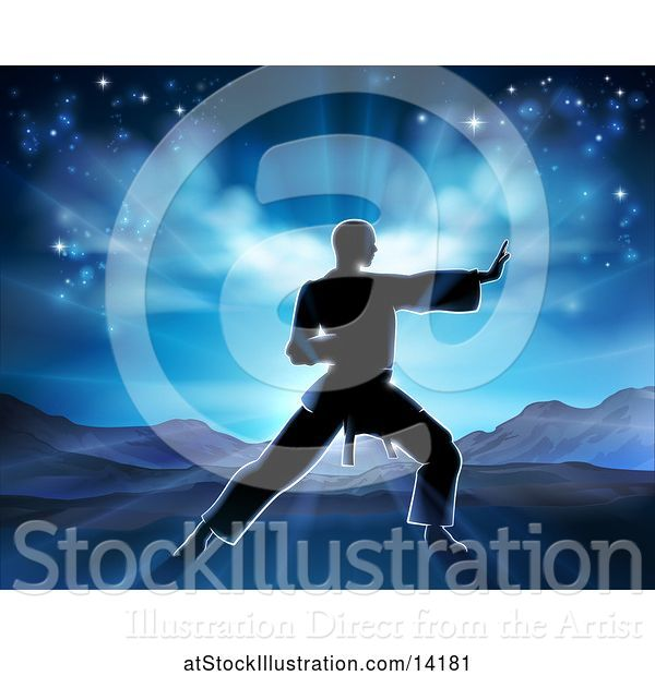 Vector Illustration of Silhouetted Guy in a Karate Pose Against a Sunrise