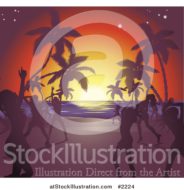 Vector Illustration of Silhouetted Ladies Dancing on a Tropical Beach
